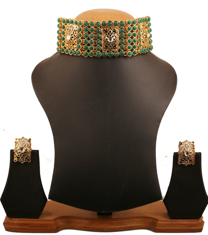 Legendry Mughal Jali Work Kundan Green Collar Set In Antique Gold Tone-PWNSL488-01KE-G