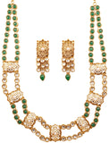 Legendry Mughal Jali Work Kundan Green Long Set In Antique Gold Tone-PWNSL489-01KEPG