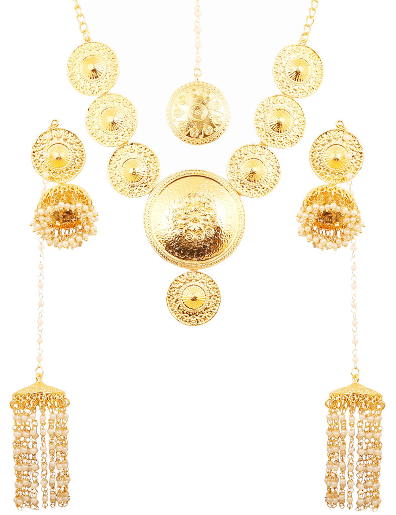 Beaten Metal Bahubali Faux Pearls South Kashmere Necklace In Gold Tone-PWNSL493-01---Y