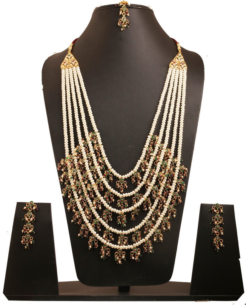 Pretty Jali Work Red Green Minakari Necklace Set In Antique Gold Tone-PWNSL495-01PREY