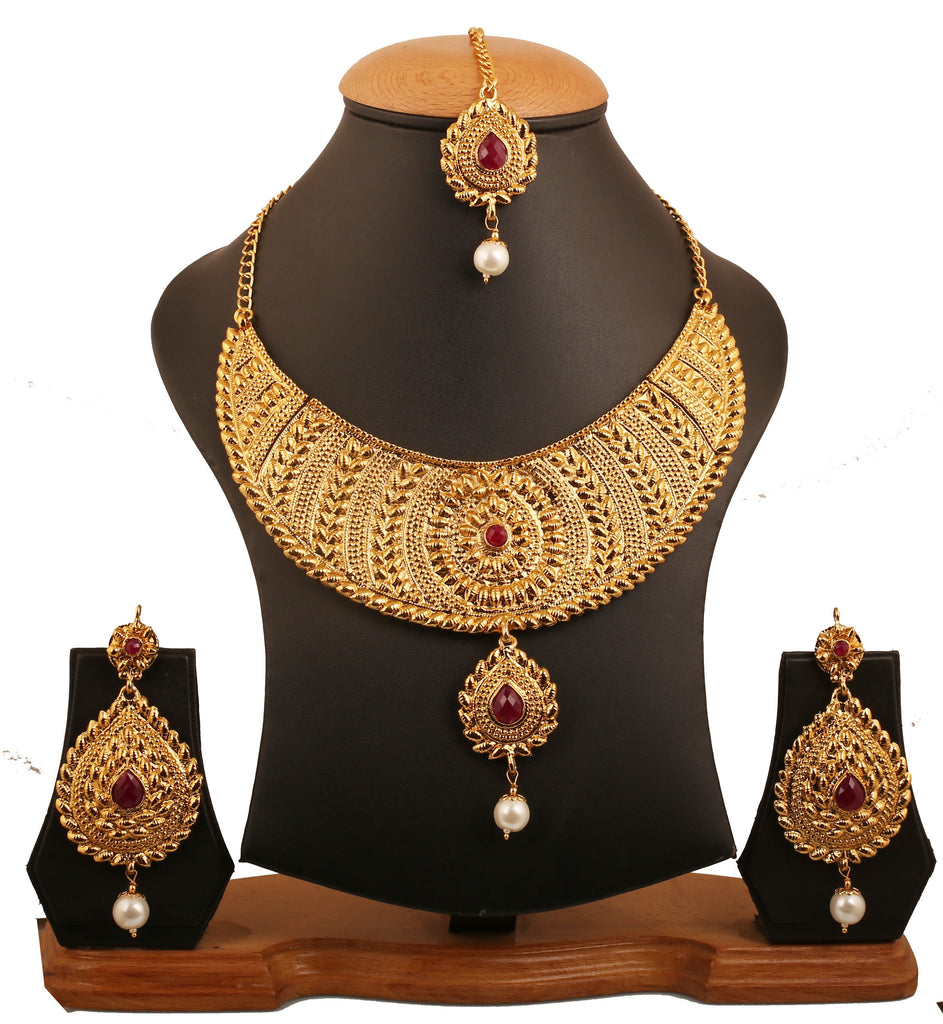 Ethnic Indian Heavy Faux Ruby Necklace Set Faux In Antique Gold Tone-PWNSL497-01R--G