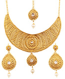 Ethnic Indian Heavy Kundan Look Necklace Set Faux In Antique Gold Tone-PWNSL497-02K--G