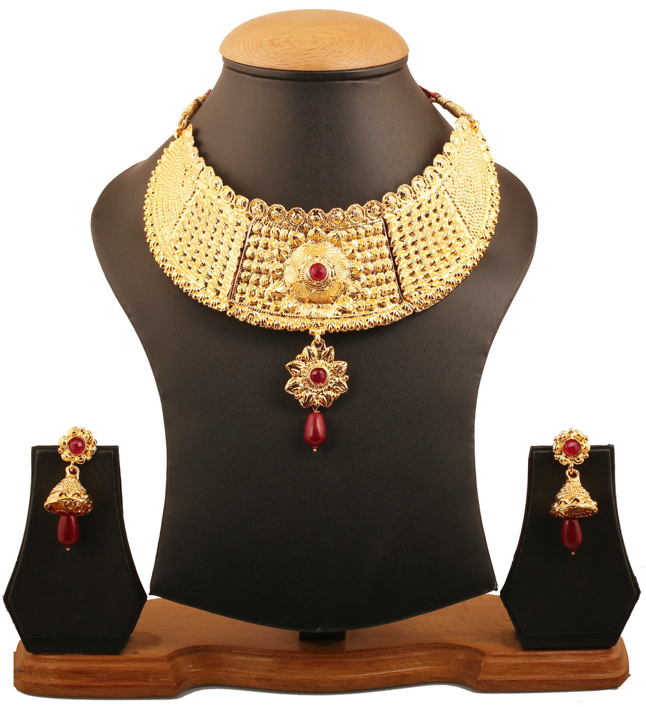 Finely Hammered Bahubali Hasli Maroon Necklace Set In Antique Gold Tone-PWNSL498-01R--G