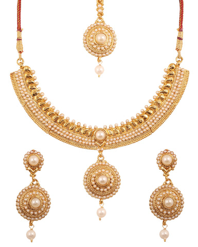 Traditional South Indian Faux Pearls Necklace Set In Antique Gold Tone-PWNSL499-01P--G