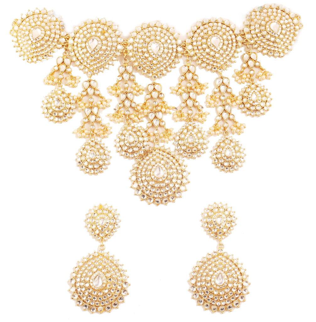 Padmavati Fame Royal Kundan Look Faux Pearls Set In Antique Gold Tone-PWNSL501-01K--G
