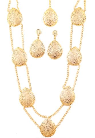 Artistic Hand Saw Work Heart Shape Necklace Set In Antique Gold Tone -PWNSL504-01---G