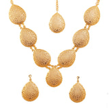 Artistic Hand Saw Work Heart Shape Necklace Set In Antique Gold Tone -PWNSL505-01---G