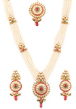 Padmavati Fame Kundan Look Red Green White Ranihar In Antique Gold Tone-PWNSL507-01X--G