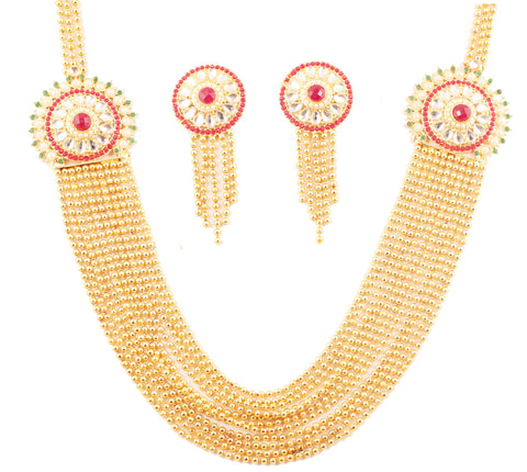 Exclusive Kundan Look Red Green Golden Necklace In Antique Gold Tone-PWNSL509-01X--G