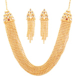 Classical Kundan Look Eight Strings Golden Pearls Necklace In Gold Tone-PWNSL510-01KRPG