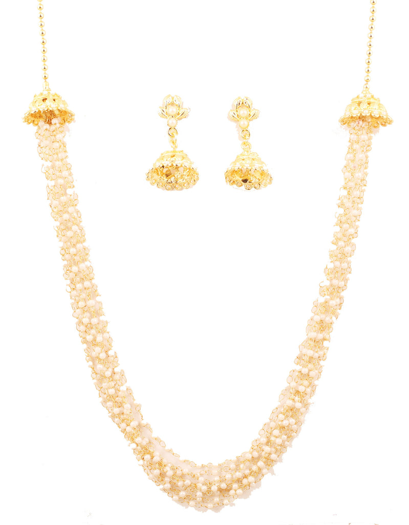 Finely Intertwined Multi Layer Faux Pearls Necklace Set In Gold Tone-PWNSL514-01P--Y