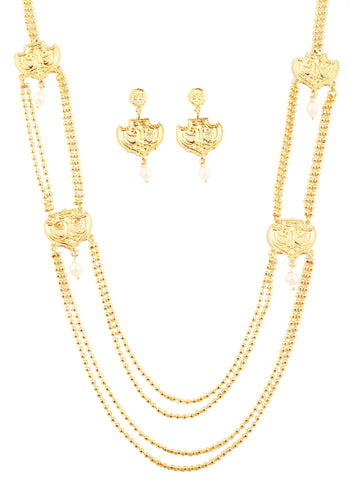 Finely Embossed And Crafted Golden Balls Necklace Set In Gold Tone-PWNSL515-01---Y