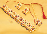 Exemplary Mughal Era Red Green Blue Faux Pearls Choker In Gold Tone-PWNSL517-01X--Y