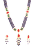 Pretty Look Crystals Faux Ruby Emerald Blue Beads Necklace In Gold Tone-PWNSL520-01AREY