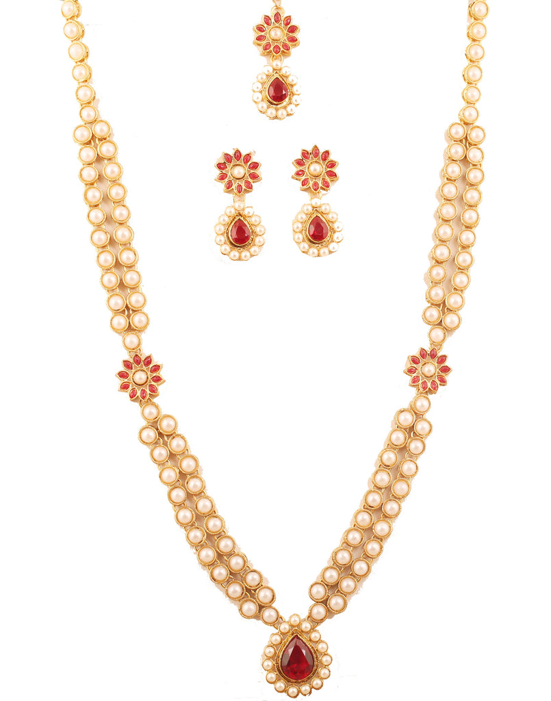 b28bc2fa7d404 Awesome Floral Work Red Faux Ruby Pearls Ranihar In Antique Gold Tone  -PWNSL522-01PR-G