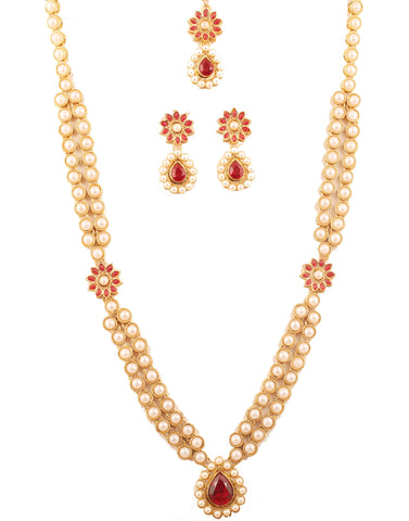 Awesome Floral Work Red Faux Ruby Pearls Ranihar In Antique Gold Tone -PWNSL522-01PR-G