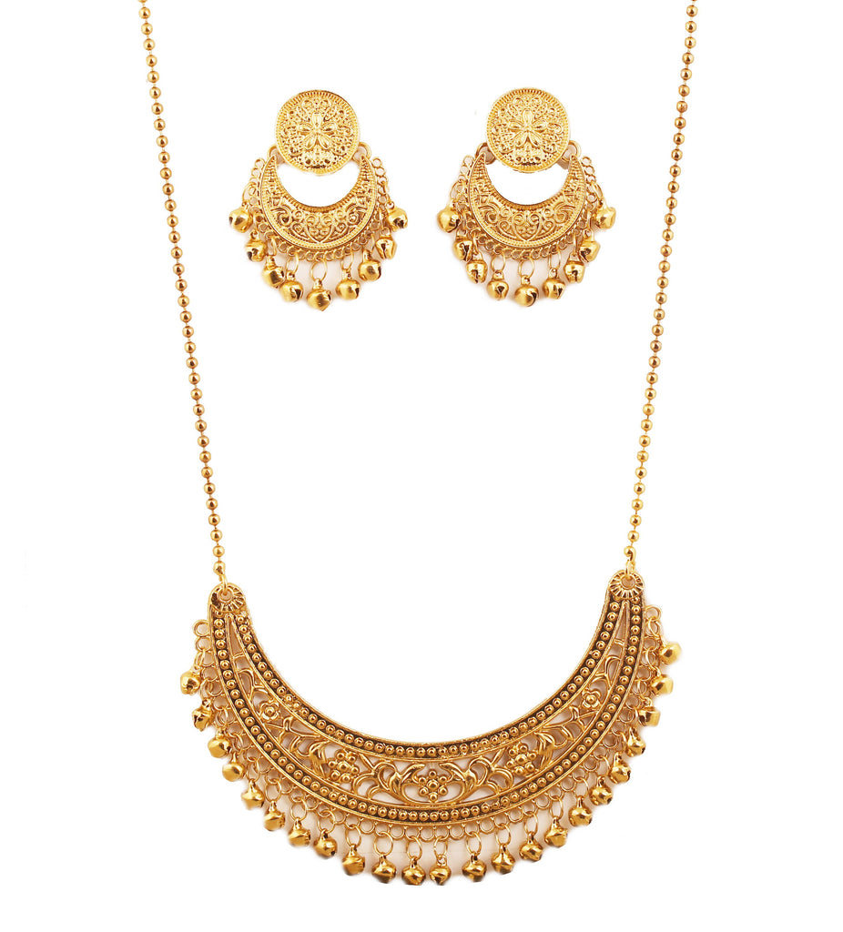 Splendid Crescent Half Moon Filigree Necklace Set In Antique Gold Tone-PWNSL523-01---G