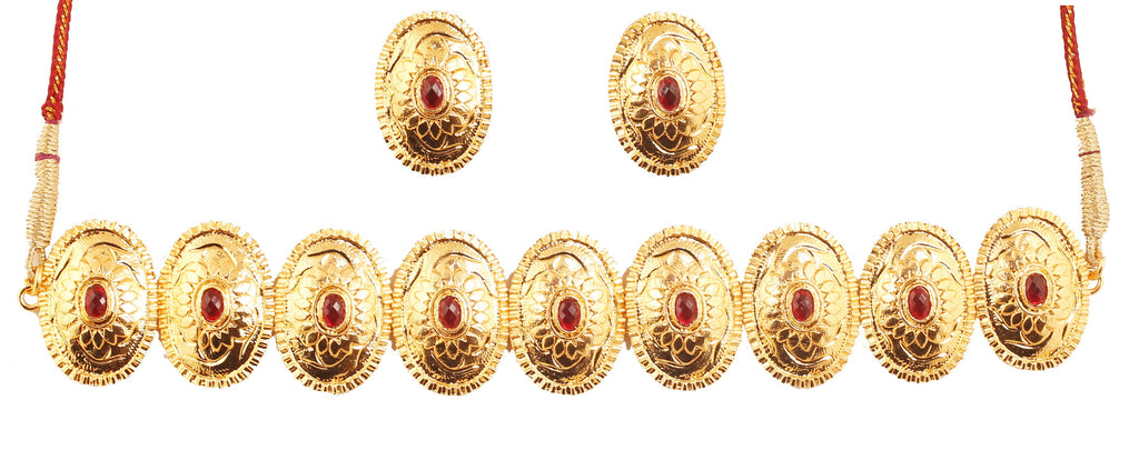 Finely Embossed Metal South Indian Faux Ruby Choker In Antique Gold Tone-PWNSL525-01R--G