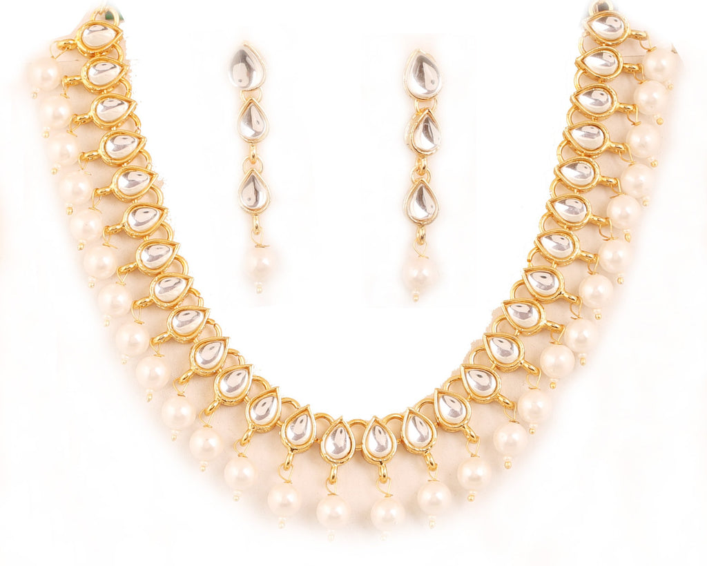 Charming Kundan Look Faux Pearls Single Line Necklace Set In Gold Tone-PWNSL527-01K--Y
