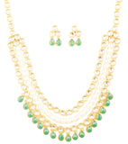 Bollywood Desire Kundan Polki Faux Emerald Pearls Necklace In Gold Tone-PWNSL528-01KE-Y