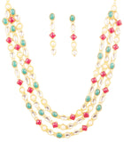 Bollywood Desire Kundan Look Red Green White Necklace Set In Gold Tone-PWNSL529-01X--Y