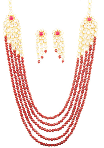 Bollywood Desire Kundan Look Faux Ruby Red Beads Necklace In Gold Tone-PWNSL530-01KR-Y