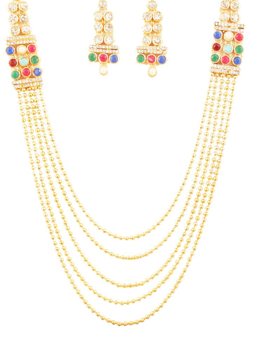 Bollywood Desire Rajwada Multi Color Nav Ratan Necklace In Gold Tone-PWNSL531-01X--Y