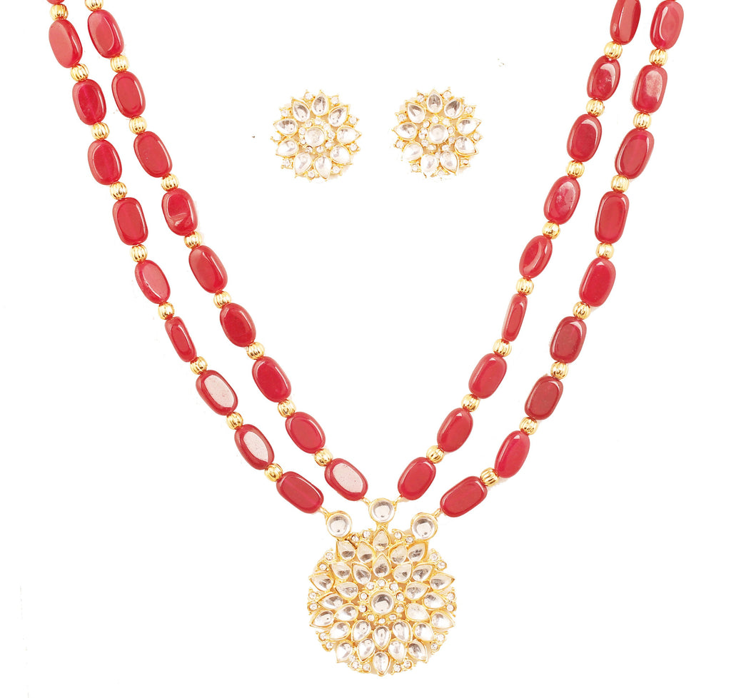 Indian Kundan Oval Shape Red Onyx Double Line Necklace Set In Gold Tone-PWNSL532-01K--Y
