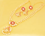 Bollywood Desire Kundan Geometric Faux Ruby Pearls Necklace In Gold Tone-PWNSL533-01KRZY