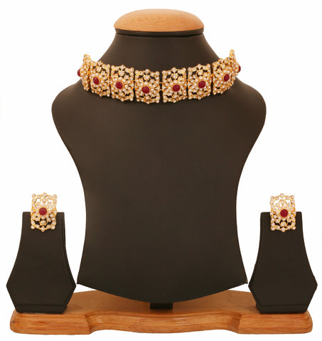 Touchstone Gold Plated Mughal Style Necklace Set- PWNSM007-01APRY