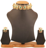 Faux Emerald/Pearls White  Mughal Jali Choker Necklace In Gold Tone-PWNSM007-02APEY
