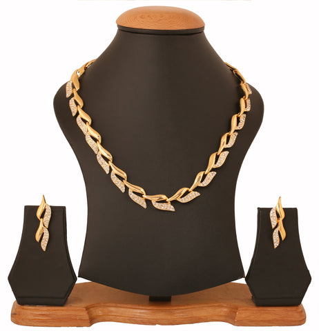 Touchstone Gold Plated Leaf Ad Glitzy Necklace Set- PWNSR001-01A--Y