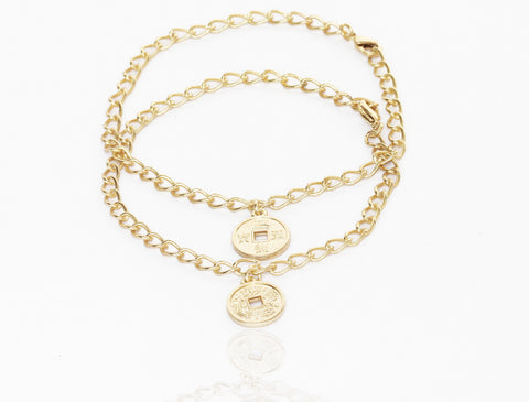 Touchstone Anklets Pair With Feng Shui Coin Charm- PWPJL006-01---Y