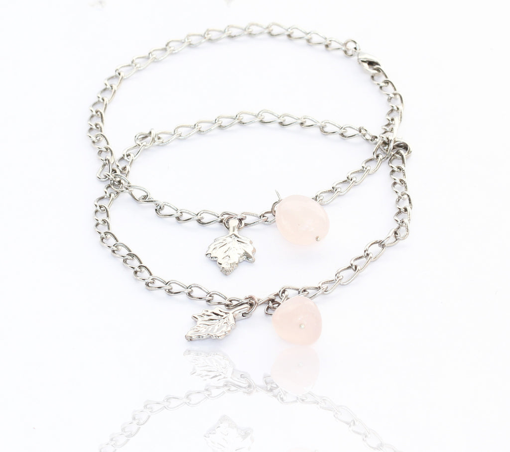 Touchstone Anklets Pair With Blue Gemstone Drop- PWPJL011-01---W