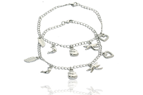 Touchstone Anklets Pair With Fine Multiple Charms- PWPJL014-01---W