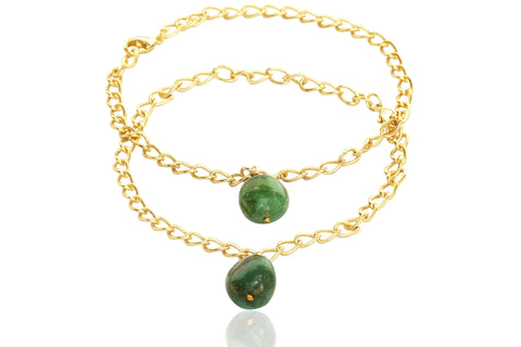 Touchstone Anklets Pair With Emerald Drop- PWPJL016-01---Y