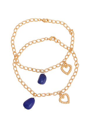 Touchstone Anklets Pair With Blue Drop And Charm- PWPJL018-01---Y