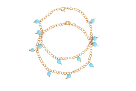 Touchstone Anklets Pair With Feroz Blue Drops- PWPJL019-01---Y