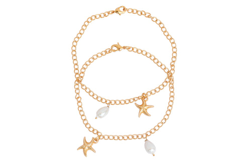 Touchstone Anklets Pair With Cute Pearl And Star Drop- PWPJL021-01---Y