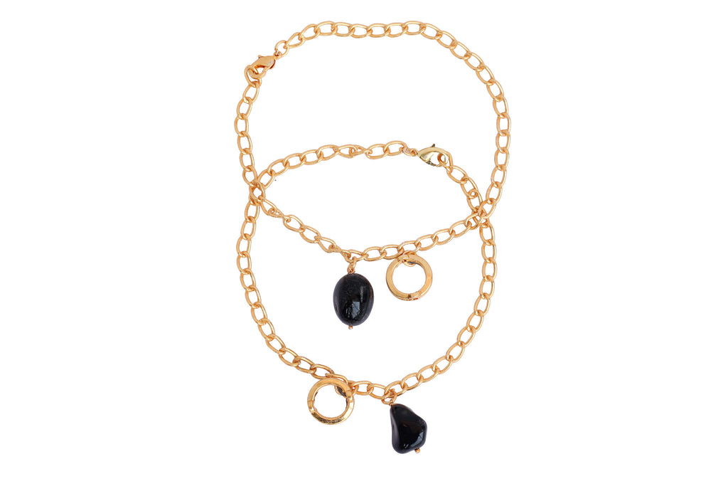 Touchstone Anklets Pair With Black Ruby Drop- PWPJL022-01---Y