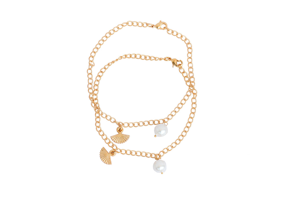 Touchstone Anklets Pair With Cute Pearl And Umbrella Drop- PWPJL023-01---Y