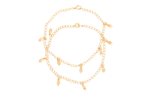 Touchstone Anklets Pair With Gold Charm- PWPJL028-01---Y