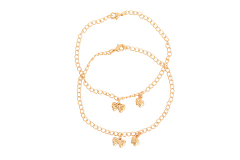 Touchstone Anklets Pair With Gold Butterfly Charms- PWPJL032-01---Y