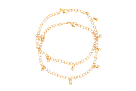 Touchstone Anklets Pair With Gold Plated Round Charms- PWPJL033-01---Y