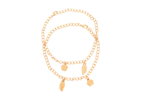 Touchstone Anklets Pair With Gold Cute Flower And Leaf Charms- PWPJL035-01---Y