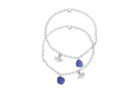 Touchstone Anklets Pair With Blue Drop And Flower Charm- PWPJL036-01---W