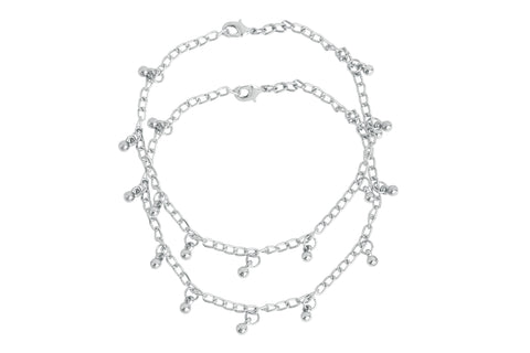 Touchstone Anklets Pair With Beautiful Silver Ball Charms- PWPJL042-01---W