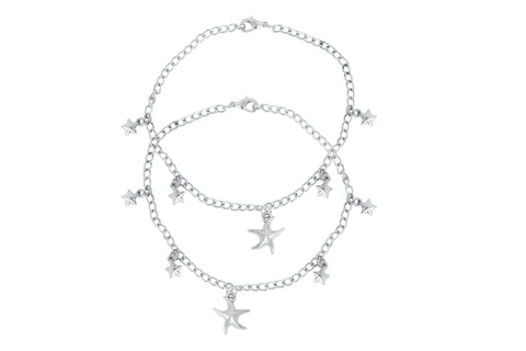 Touchstone Anklets Pair With Cute Silver Star Charms- PWPJL043-01---W