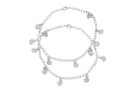 Touchstone Anklets Pair With Elegant Silver Charms- PWPJL044-01---W