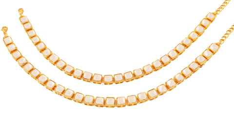 Exclusive And Designer White Kundan Polki Look Anklets In Gold Tone -PWPJL049-01K--Y